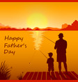 dad and son fishing on sunset together vector image vector image
