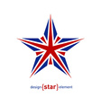 Design element star with United Kingdom flag vector image vector image