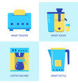 electric kitchen equipment icon set in flat style vector image