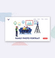 family photo portrait landing page template vector image vector image