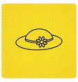 Female hat with flower icon Women headdress vector image vector image