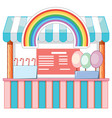 food vendor with cotton candy and rainbow vector image
