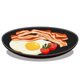 fried eggs on a black stylish fashion plate with vector image