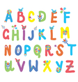 Funny alphabet for kids with flowers vector image vector image