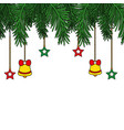 garland with bells and stars hanging decoration vector image