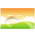 Green landscape with a rainbow in the background vector image vector image