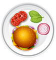 hamburger and fresh vegetables on the plate vector image vector image