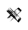 hand drawn paint brush cross vector image