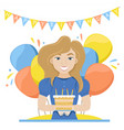 happy woman with birthday cake in her hands vector image