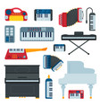 keyboard musical instruments musician equipment vector image vector image