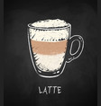 latte coffee cup on chalkboard background vector image