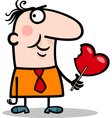 man wit valentine hearth lollipop cartoon vector image vector image