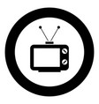 old tv icon black color in circle vector image