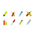 pen icon set flat style vector image vector image