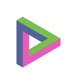penrose triangle icon in three colors geometric vector image