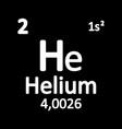 periodic table element helium icon vector image vector image