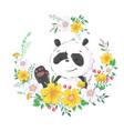 postcard poster cute little panda in a wreath vector image vector image