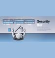 security guard bot looking monitor screen robot