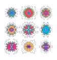 Set of flower icons isolated on white vector image