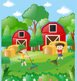 two boys raking dried leaves in farm vector image vector image