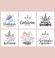 unicorns cute hand drawn lettering set vector image