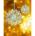 Winter golden abstract with snowflakes EPS 8 vector image vector image