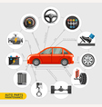 Auto parts maintenance icons vector image