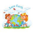 earth day boy and girl hugging the globe vector image