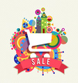 Shopping cart icon sale label with color shapes vector image