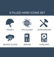 6 hard icons vector image vector image