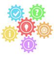 6 retro gears question work idea info ok amp vector image vector image