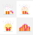 abstract gift boxes set flat style vector image vector image