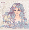 Aquarius as a portrait of beautiful girl vector image vector image
