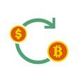bitcoin exchanges flow symbol graphic vector image