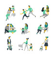 bringing up child bacare parents and kids vector image vector image