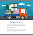 brochure lorry is transporting furniture vector image vector image