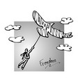 businessman in the sky with silhouette big bird vector image vector image