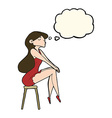 cartoon woman sitting on stool with thought bubble vector image vector image