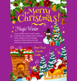 christmas tree santa gifts greeting card vector image