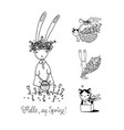 cute cartoon bunny and kitten funny hare and cat vector image