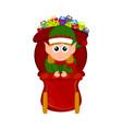cute elf on a christmas sledge vector image