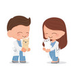 cute young veterinarian couple character flat vector image