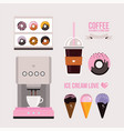 delicious sweet desserts donuts cupcakes ice vector image