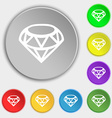 Diamond Icon sign Symbol on eight flat buttons vector image vector image