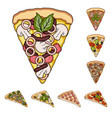 different pizza cartoon icons in set collection vector image