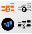 dollar coin stacks eps icon with contour vector image