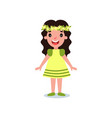 funny little girl dressed in yellow dress with vector image vector image