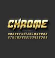 gold matt chrome style font vector image