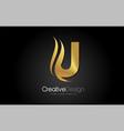 gold metal u letter design brush paint stroke on vector image vector image