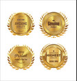 golden badge and laurel wreath collection 3 vector image vector image